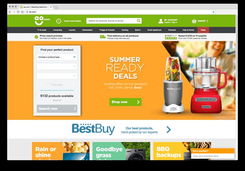 AO.com - inspiratie eCommerce