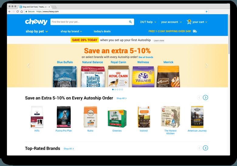 Chewy - inspiratie eCommerce