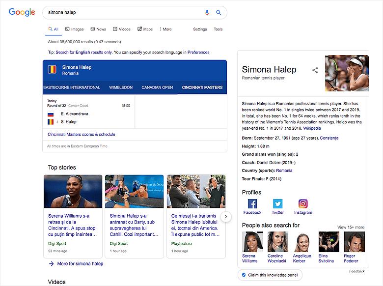Simona Halep rezultate Google SEO
